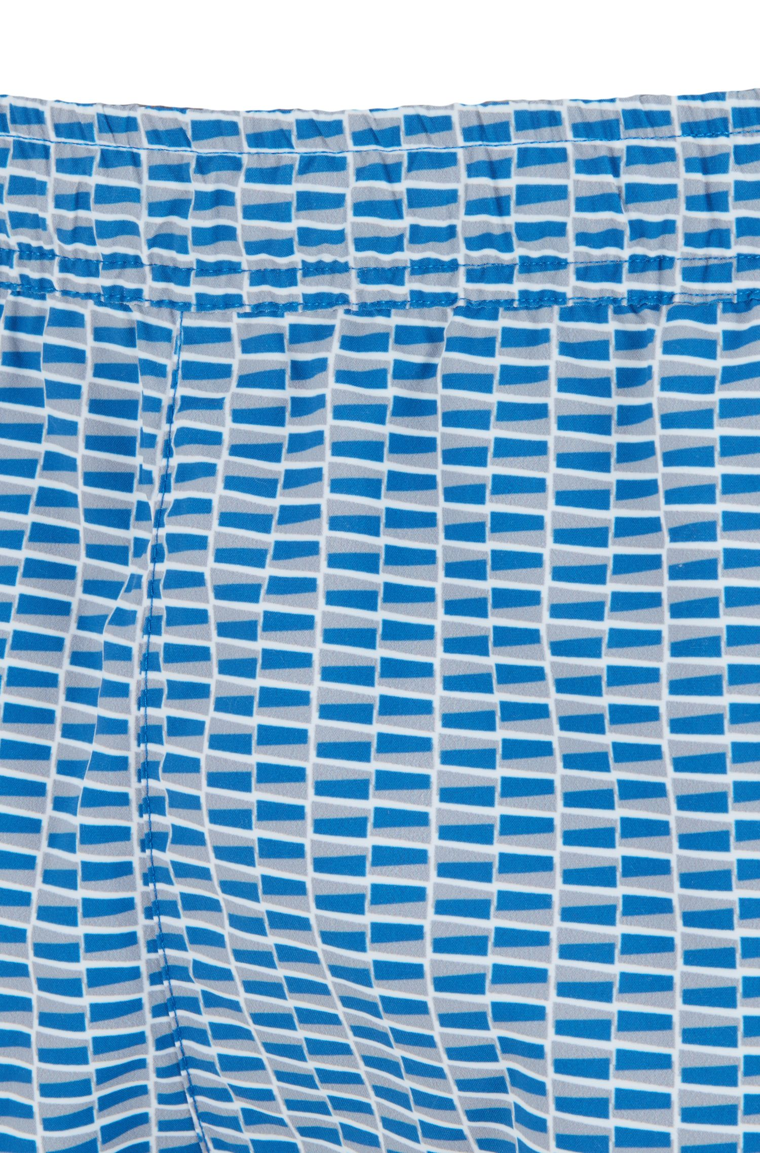 Bañador tipo shorts en tejido de secado rápido con estampado, Azul oscuro