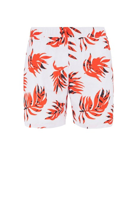 Tropical-print swim shorts in quick-dry brushed fabric, Open White