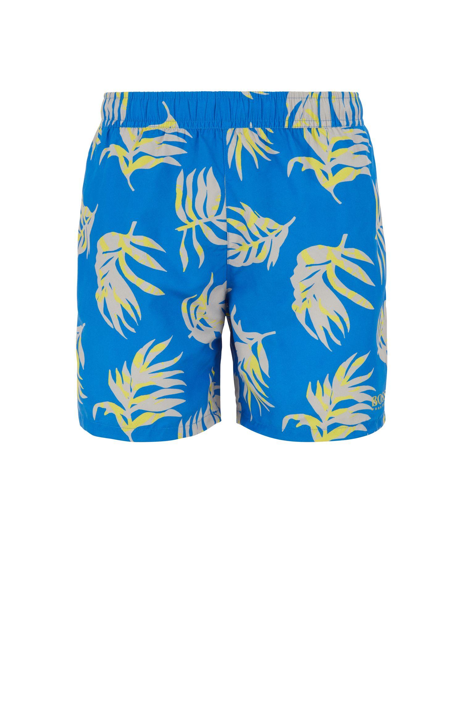 Short de bain à imprimé tropical en tissu brossé à séchage rapide, Bleu vif