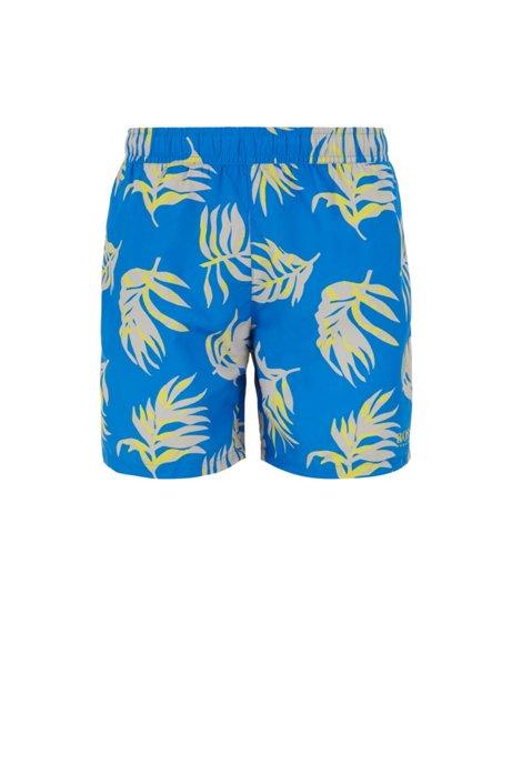Bañador tipo shorts en tejido cepillado de secado rápido con estampado tropical, Celeste