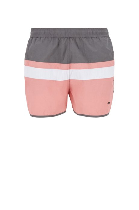 Vintage-inspired swim shorts with placement stripe, Open Grey
