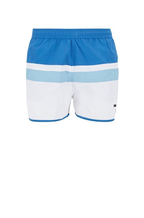 Vintage-inspired swim shorts with placement stripe, Open Blue