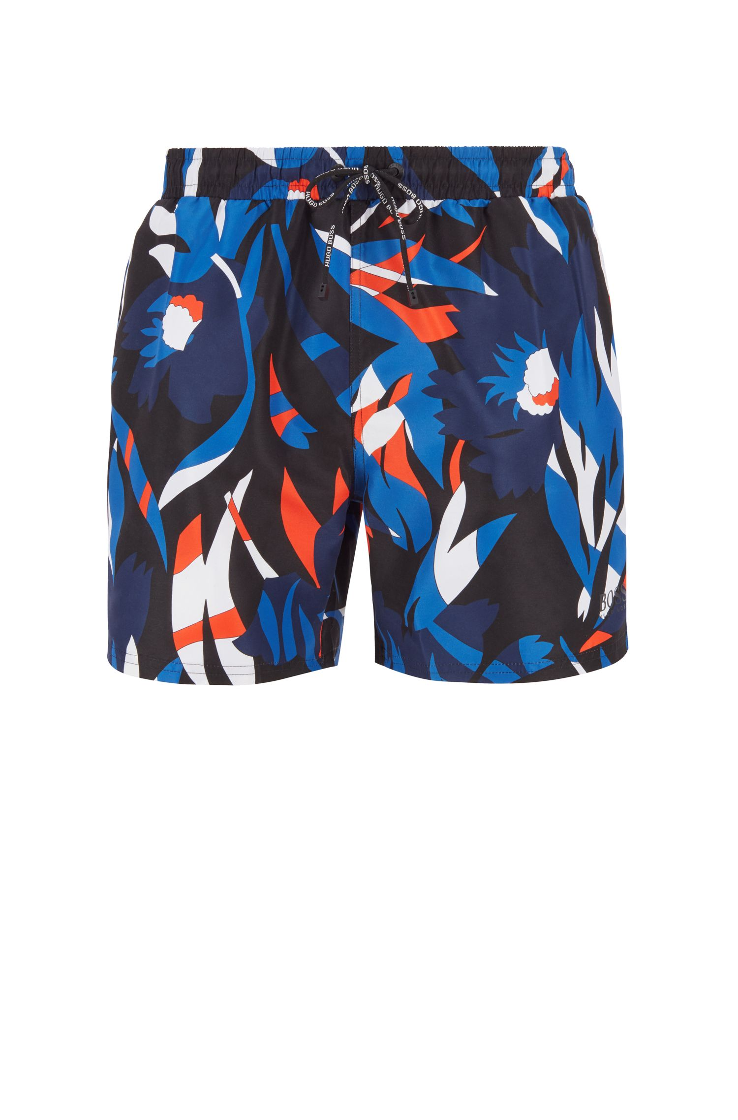 Floral-print swim shorts in quick-dry fabric, Black