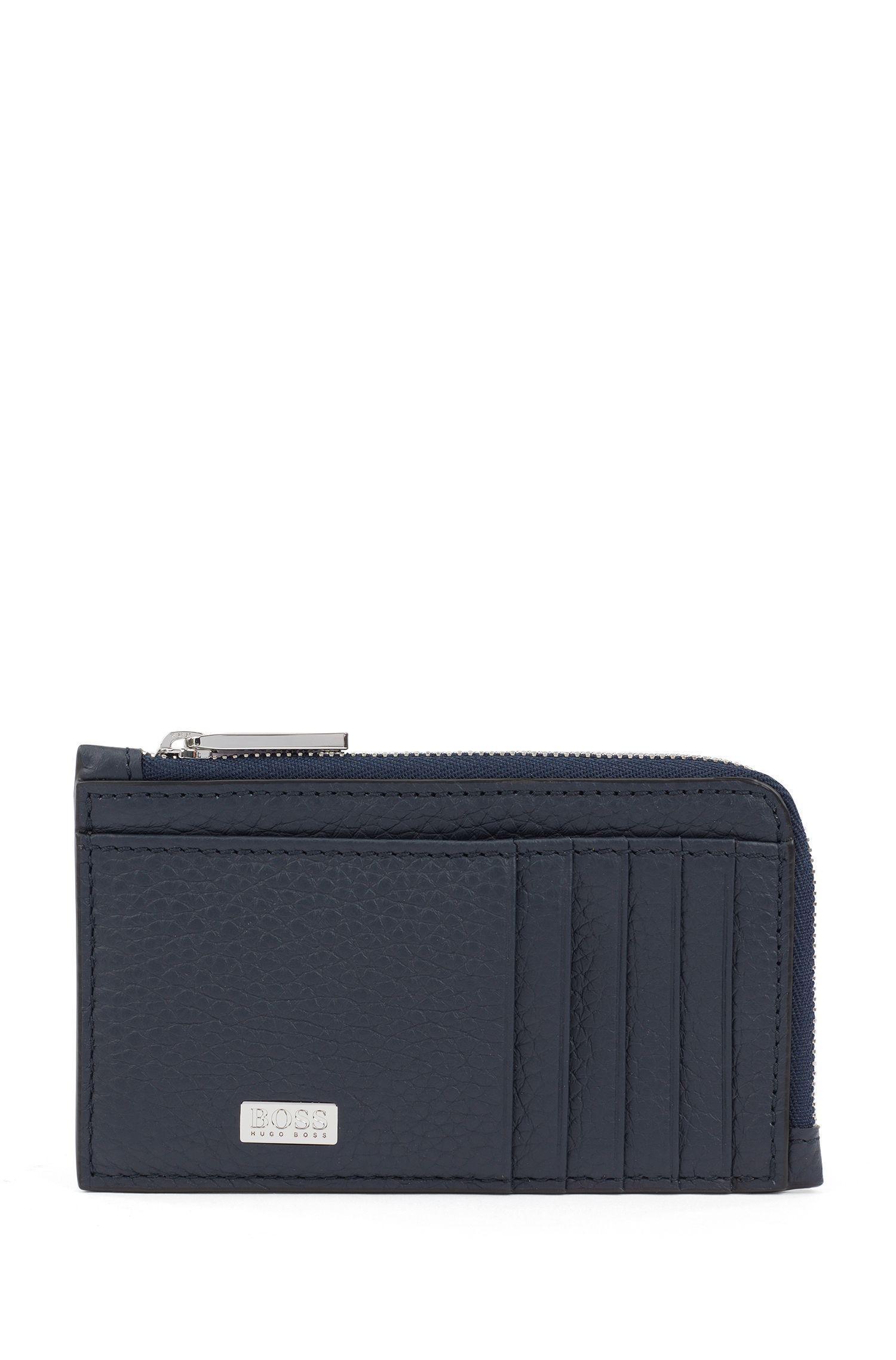 Zip-around coin case in grained Italian leather, Dark Blue
