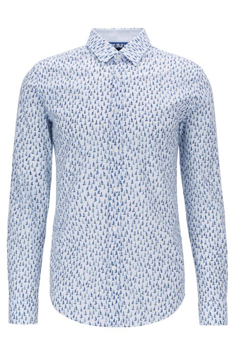 Slim-fit shirt in cotton voile with boat print, Dark Blue