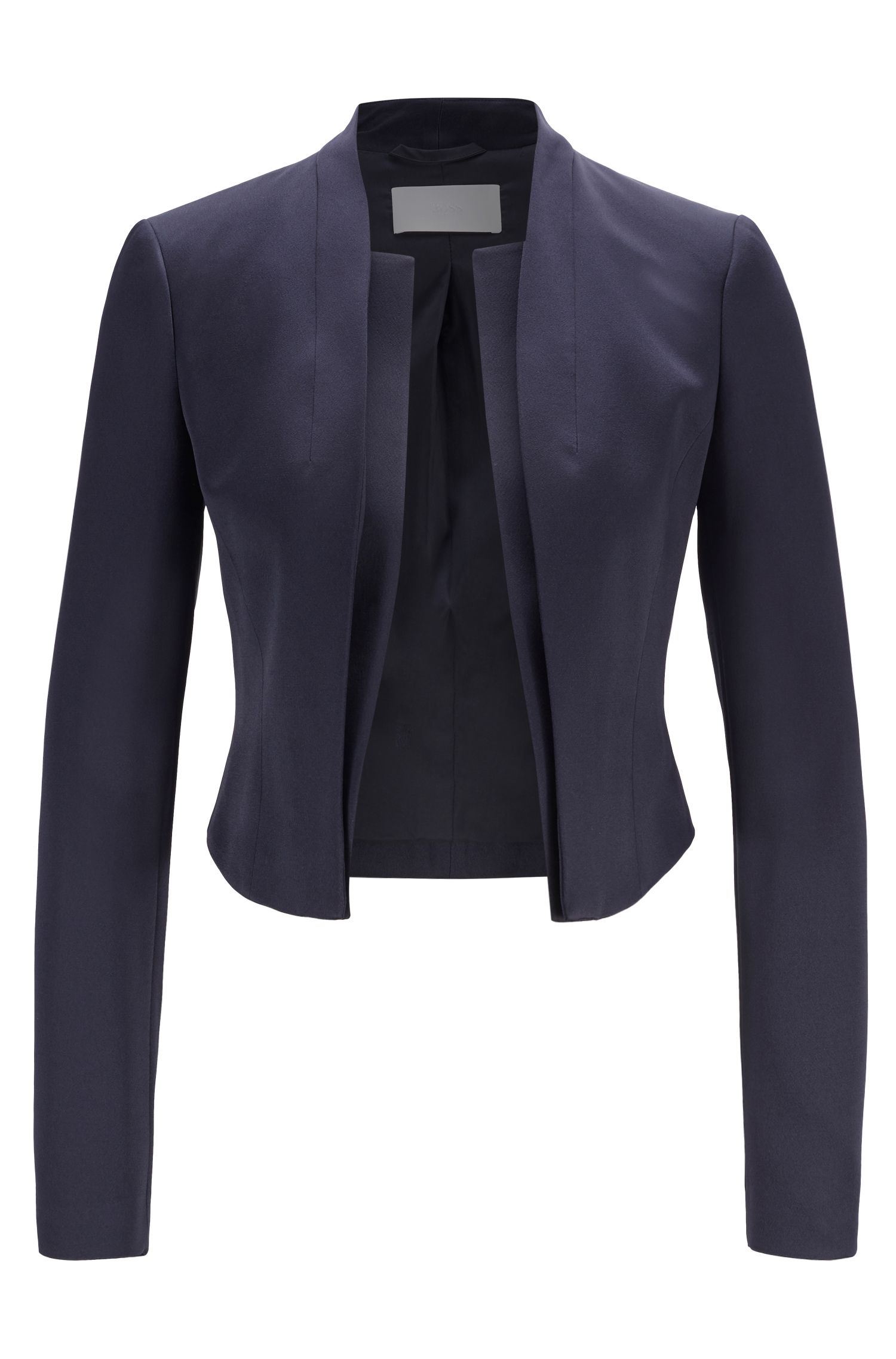 Edge-to-edge slim-fit jacket in lustrous Italian fabric, Dark Blue
