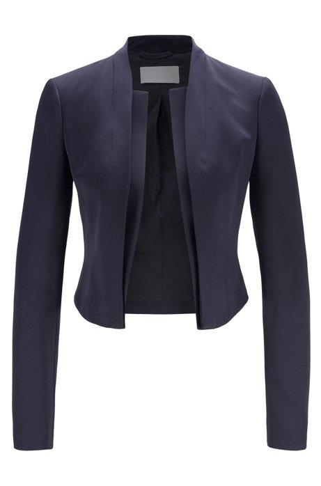 Veste Slim Fit bord à bord en tissu italien brillant, Bleu foncé