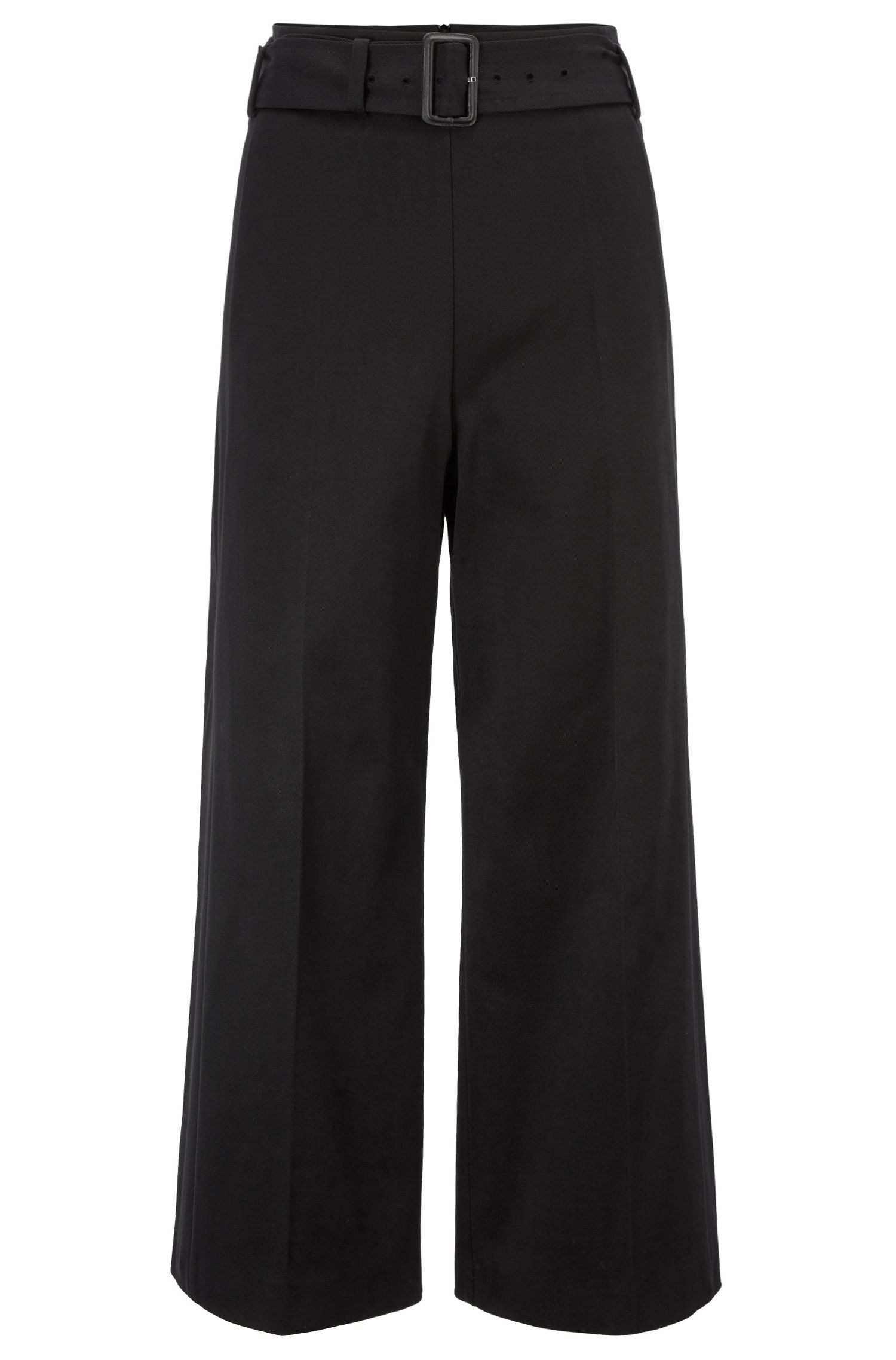 Cropped wide-leg trousers in Italian cotton twill, Black
