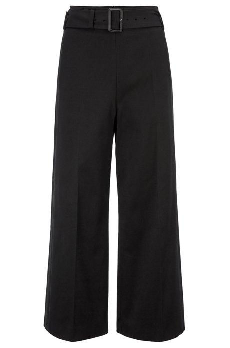 Hose aus italienischem Baumwoll-Twill in Cropped-Länge mit weitem Beinverlauf, Schwarz
