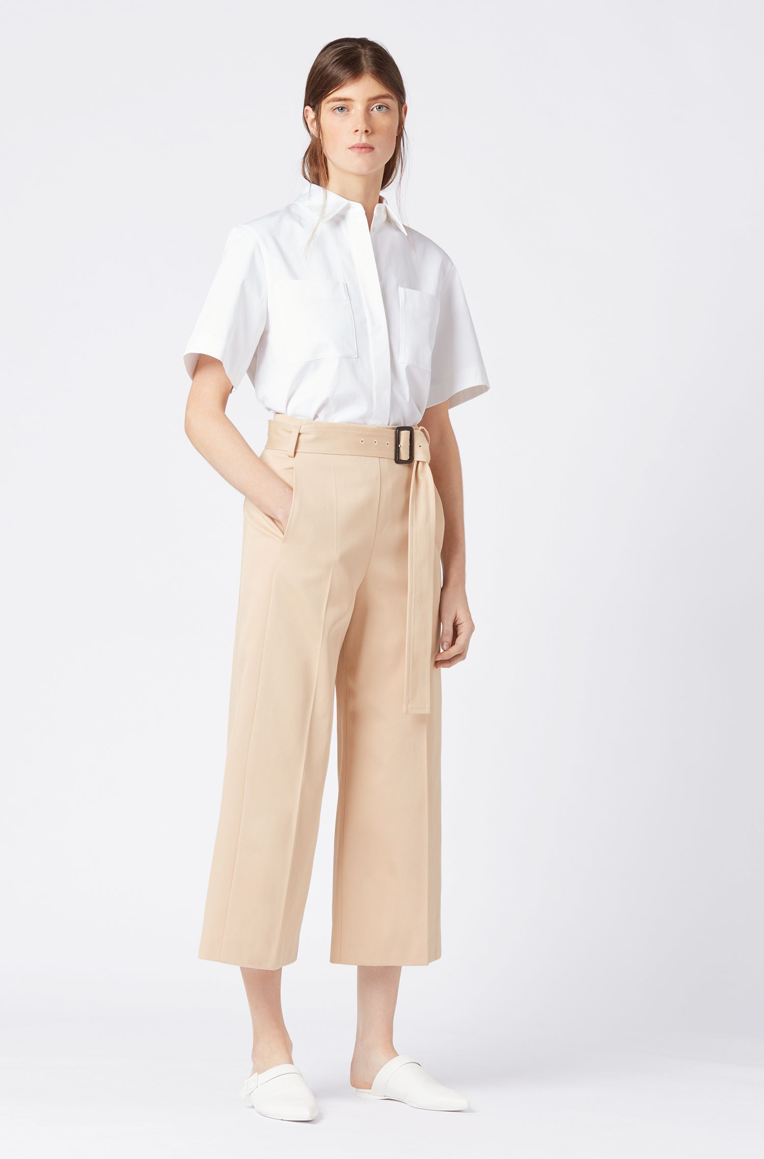 Cropped wide-leg trousers in Italian cotton twill, Beige