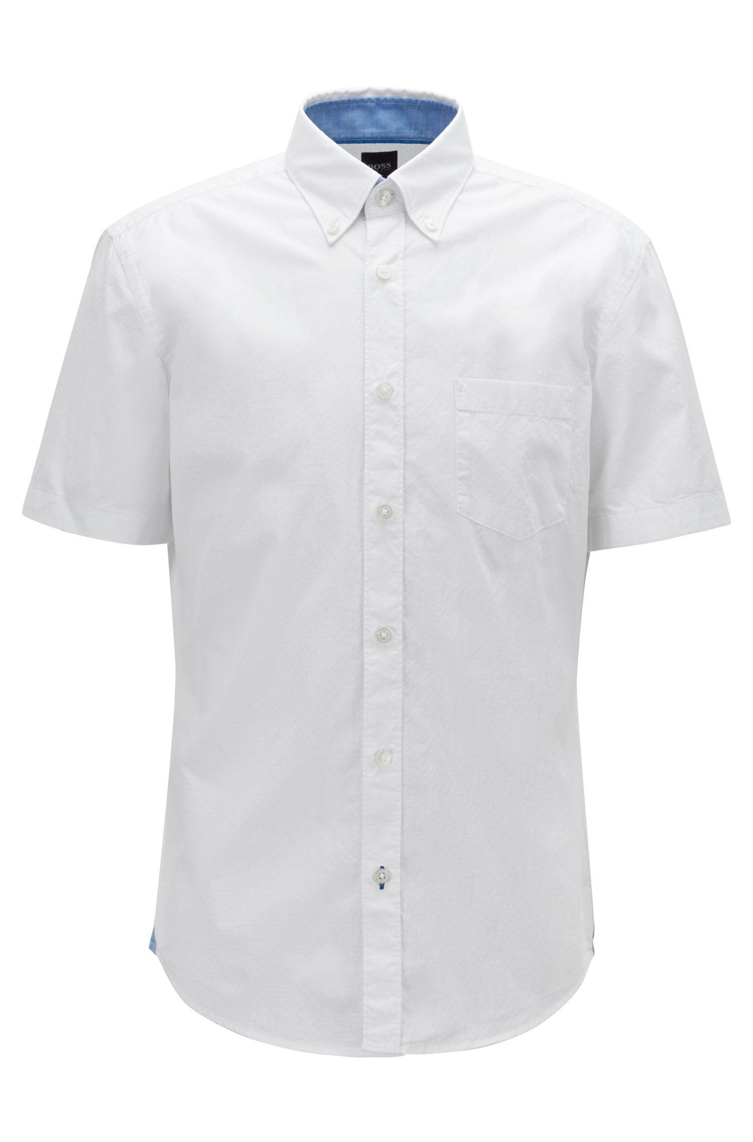 Slim-fit overhemd van stretchkatoen met contrastdetails, Wit