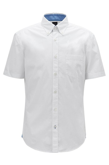 Slim-fit shirt in stretch cotton with contrast details, White