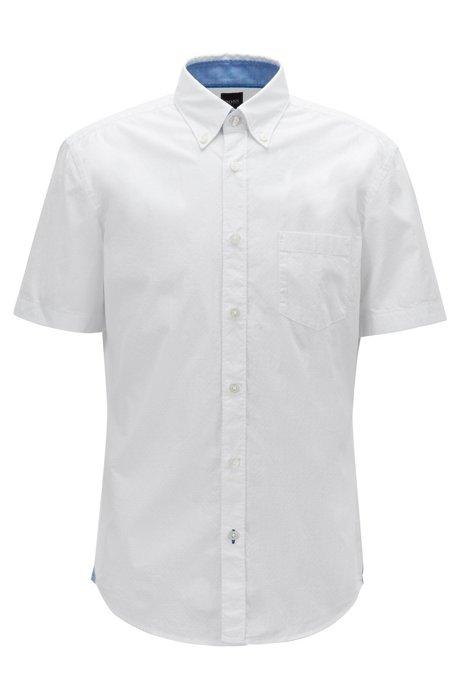 Camisa slim fit en algodón elástico con detalles en contraste, Blanco