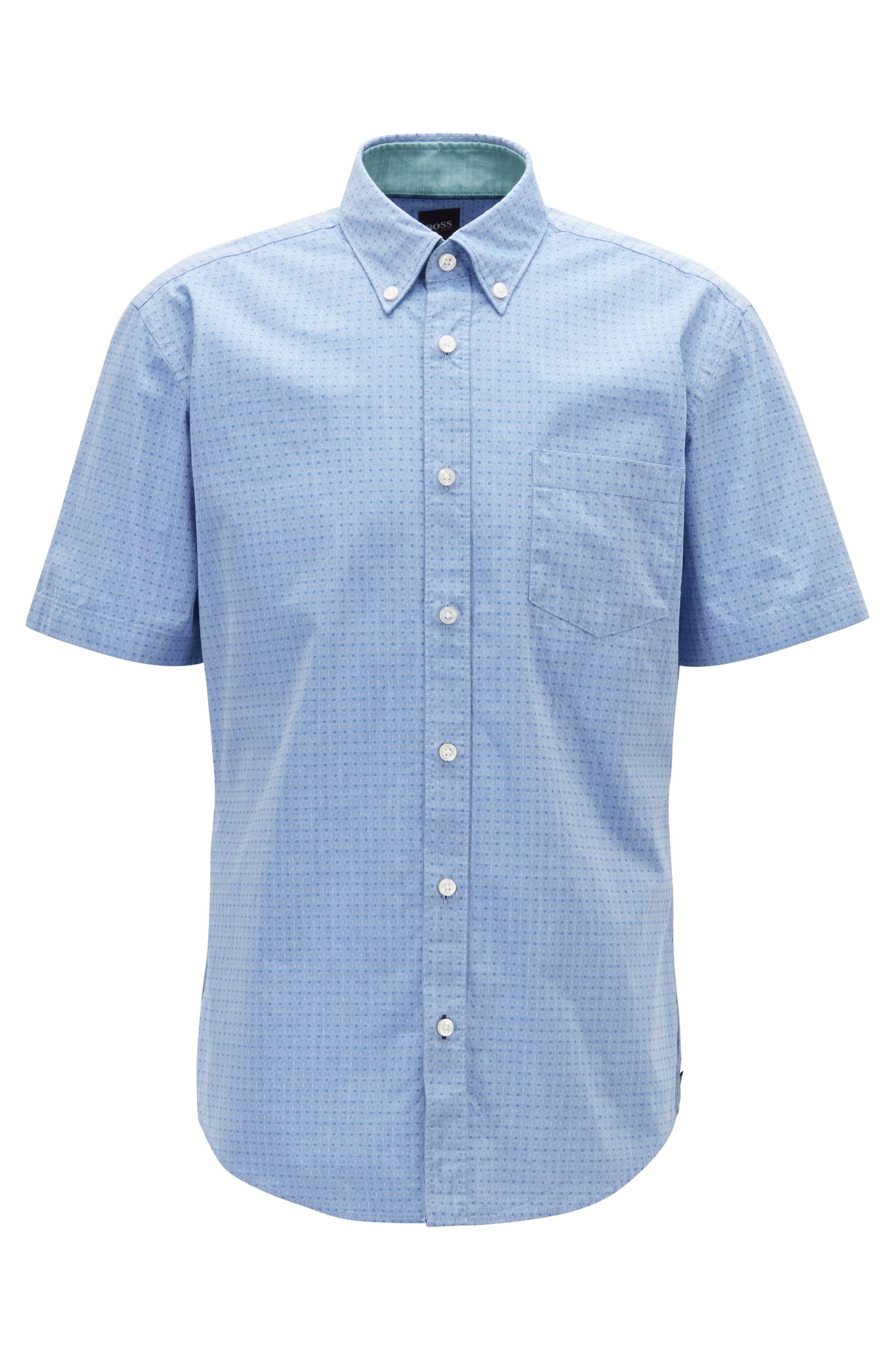 Slim-fit shirt in stretch cotton with contrast details, Blue