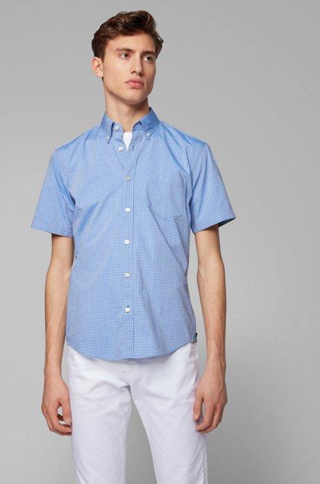 Camicia slim fit in cotone elasticizzato con dettagli a contrasto, Blu
