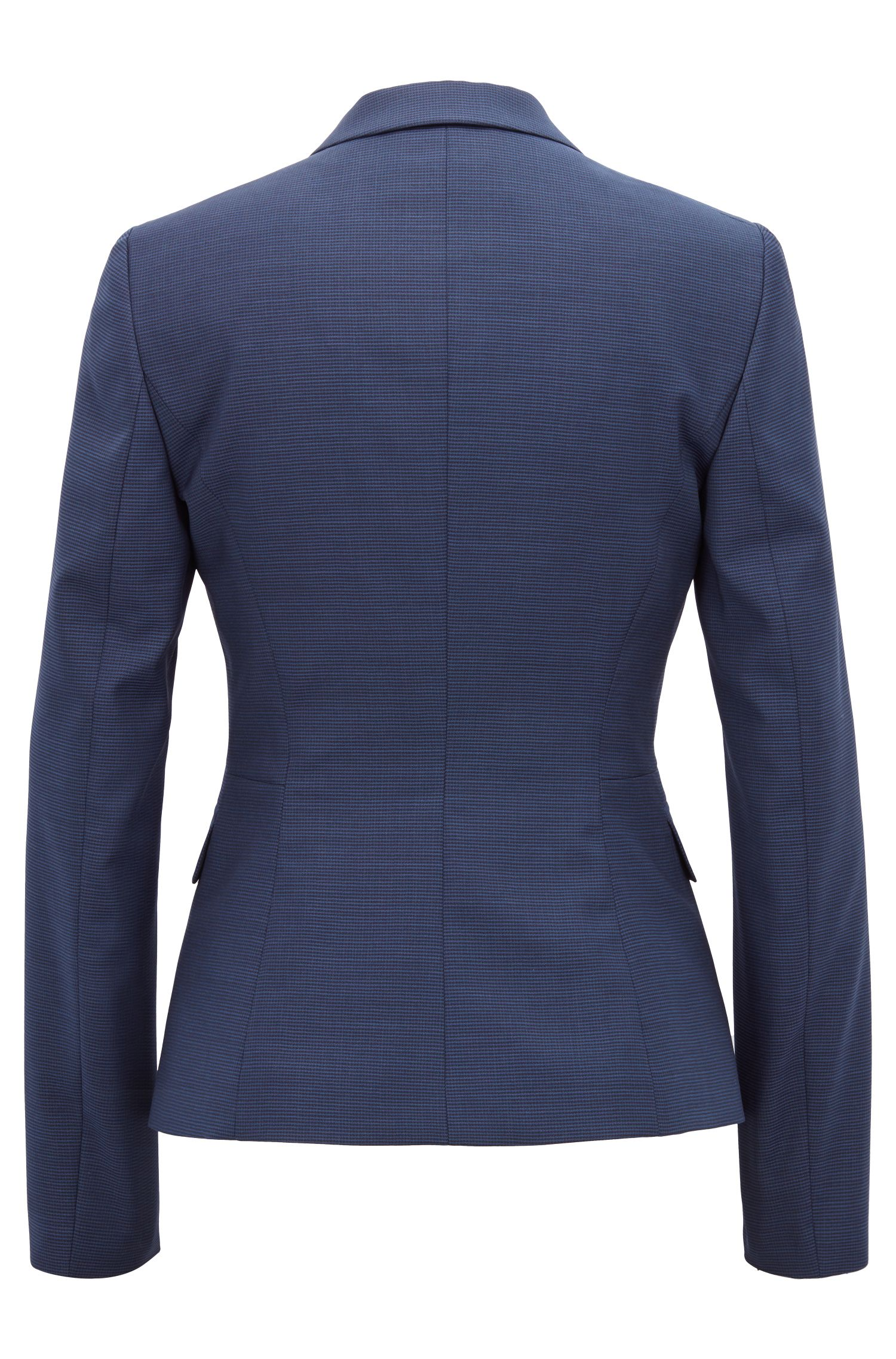 Regular-fit jacket in houndstooth virgin wool with cufflink closure, Patterned