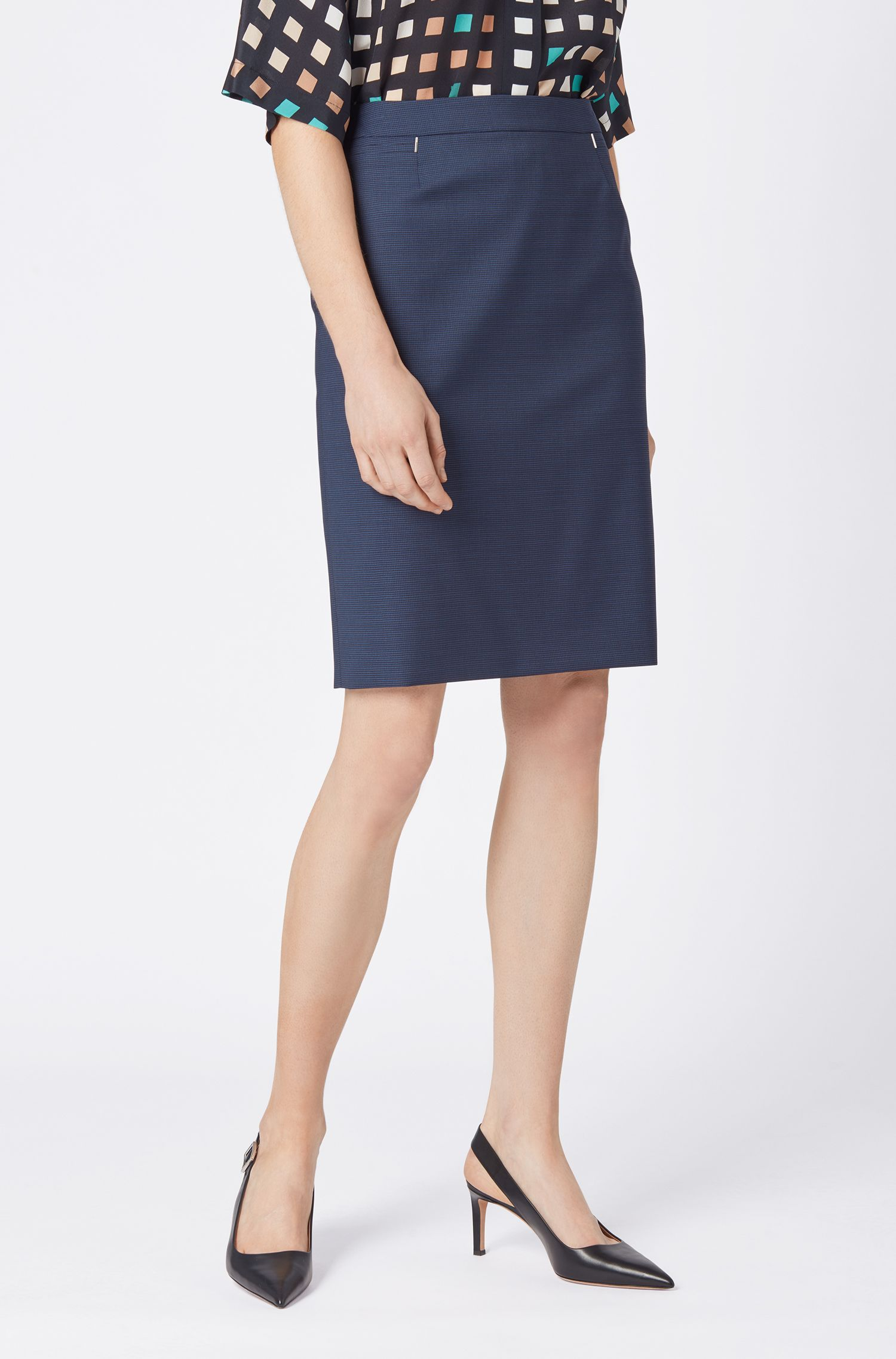 Regular-fit pencil skirt in houndstooth virgin wool, Blue