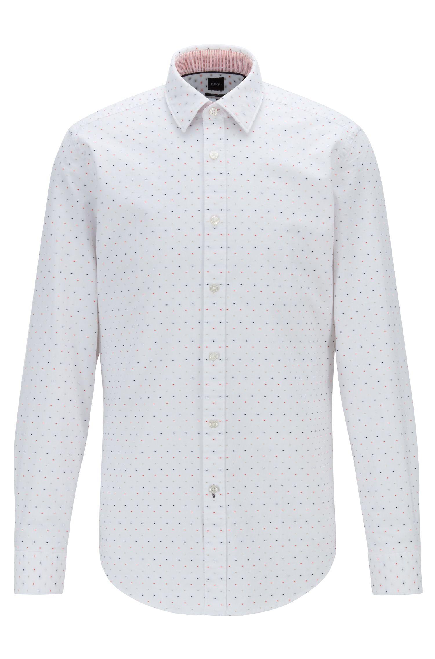 Camisa regular fit en fil coupé de algodón multicolor, Naranja