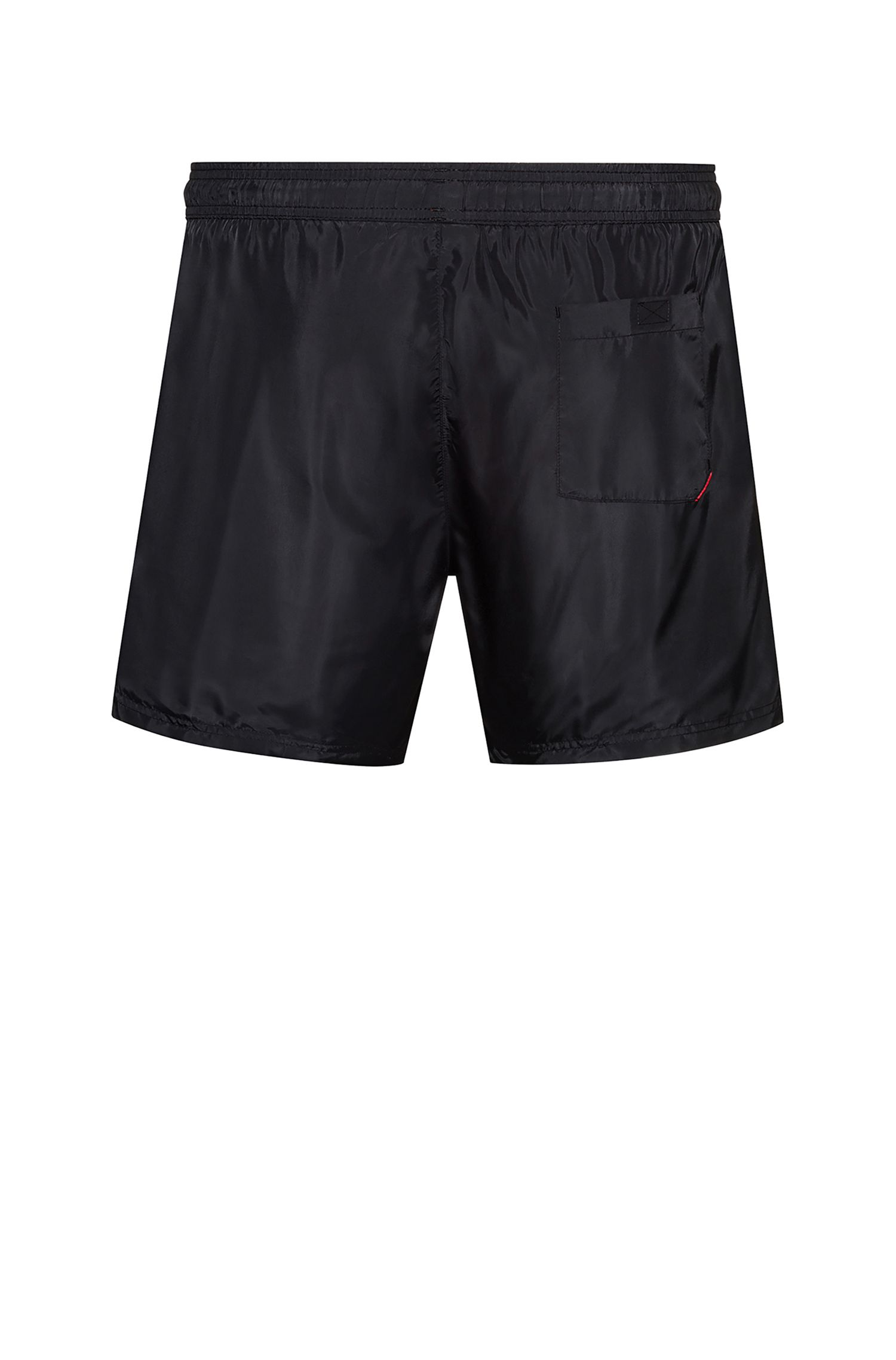 Short de bain en tissu brillant au séchage rapide avec logo inversé, Noir