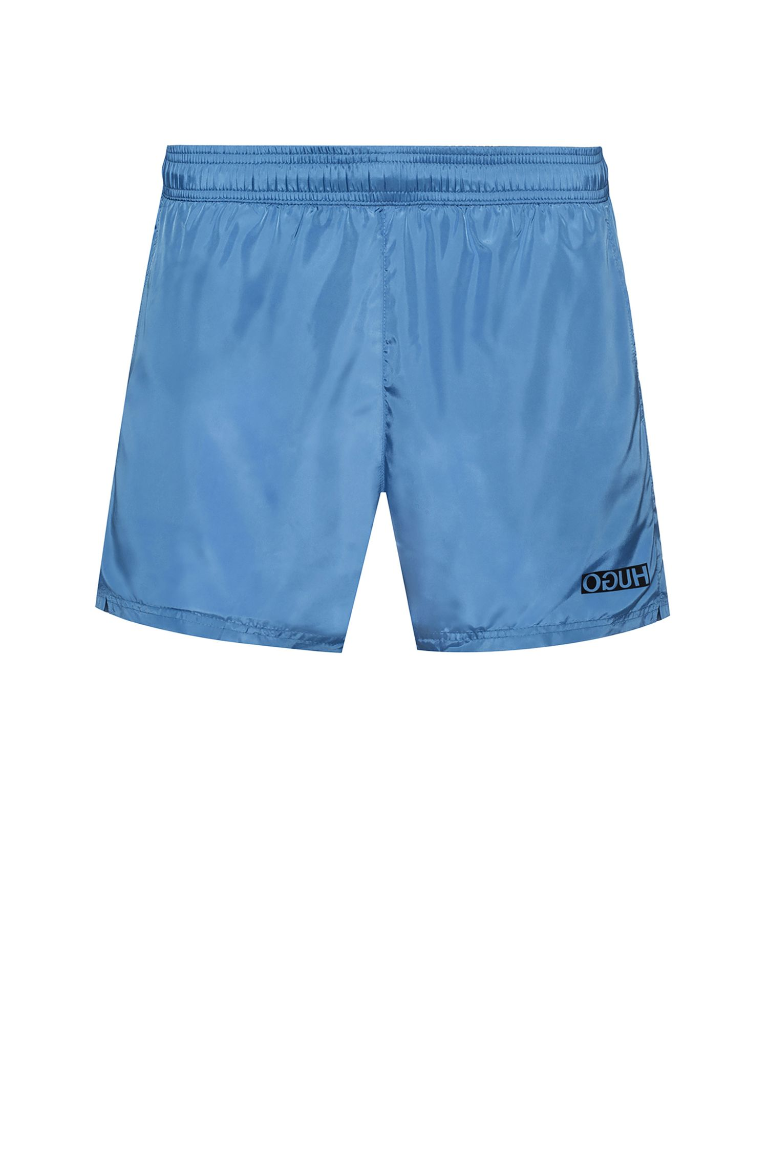 Reverse-logo swim shorts in lustrous quick-dry fabric, Light Blue