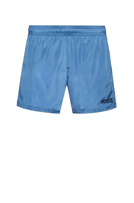 Reverse-logo swim shorts in lustrous quick-dry fabric, Light Blue
