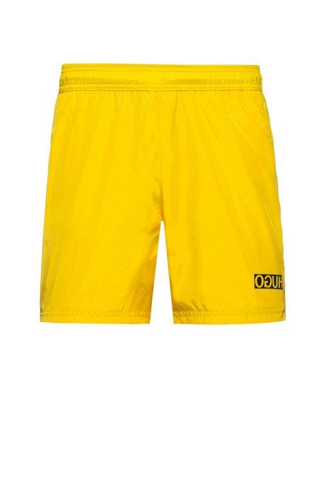 Reverse-logo swim shorts in lustrous quick-dry fabric, Yellow