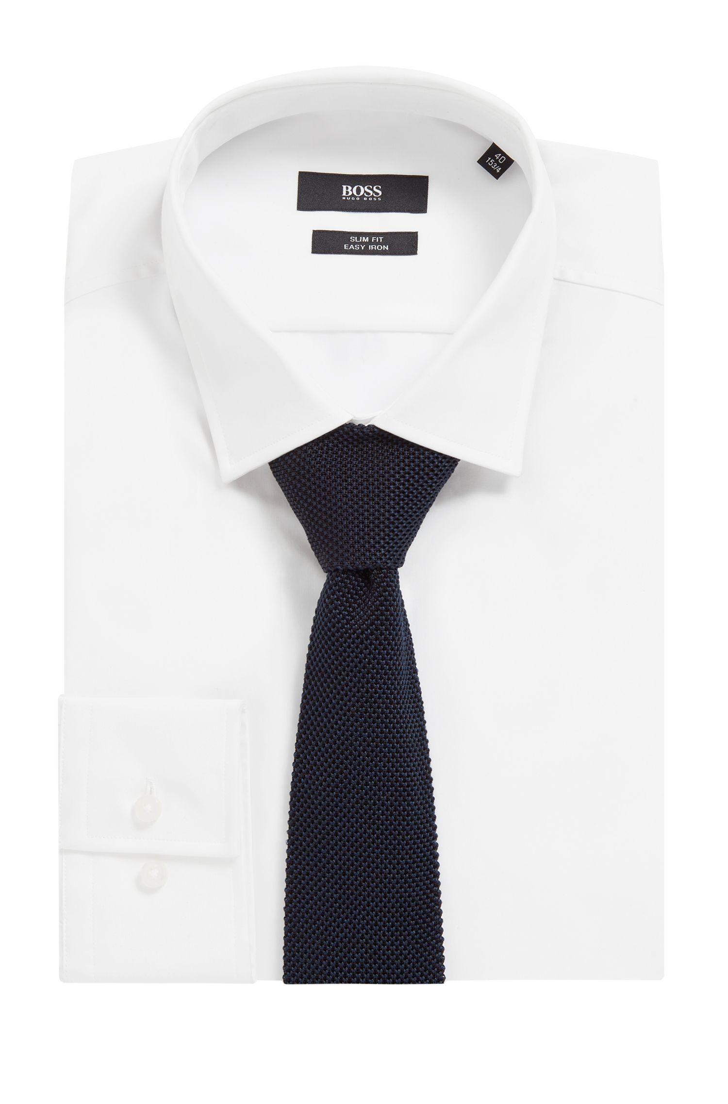 Cravate en maille piquée de soie italienne, Bleu foncé