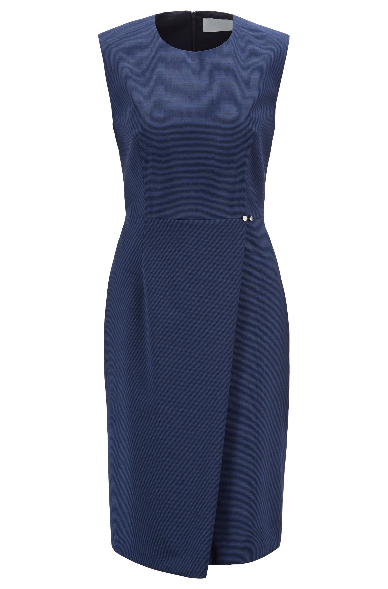 Slim-fit dress in virgin wool with wrap skirt, Patterned