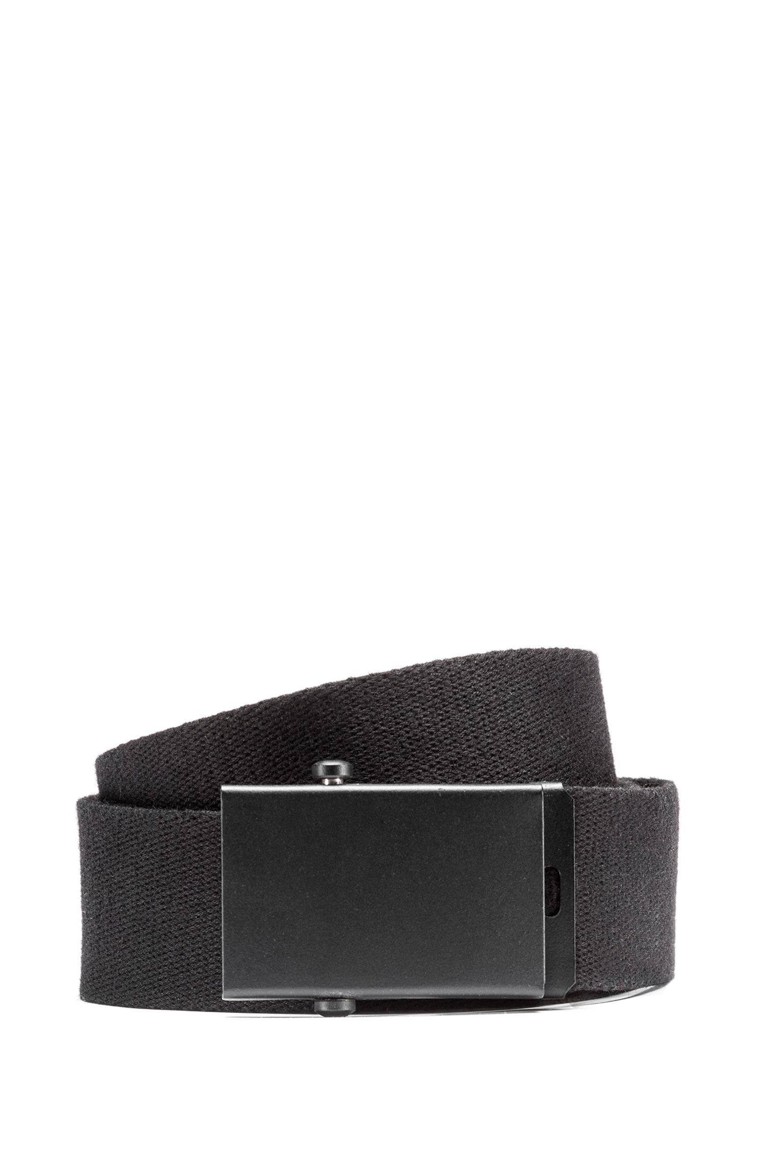 Canvas logo belt with plaque buckle, Black