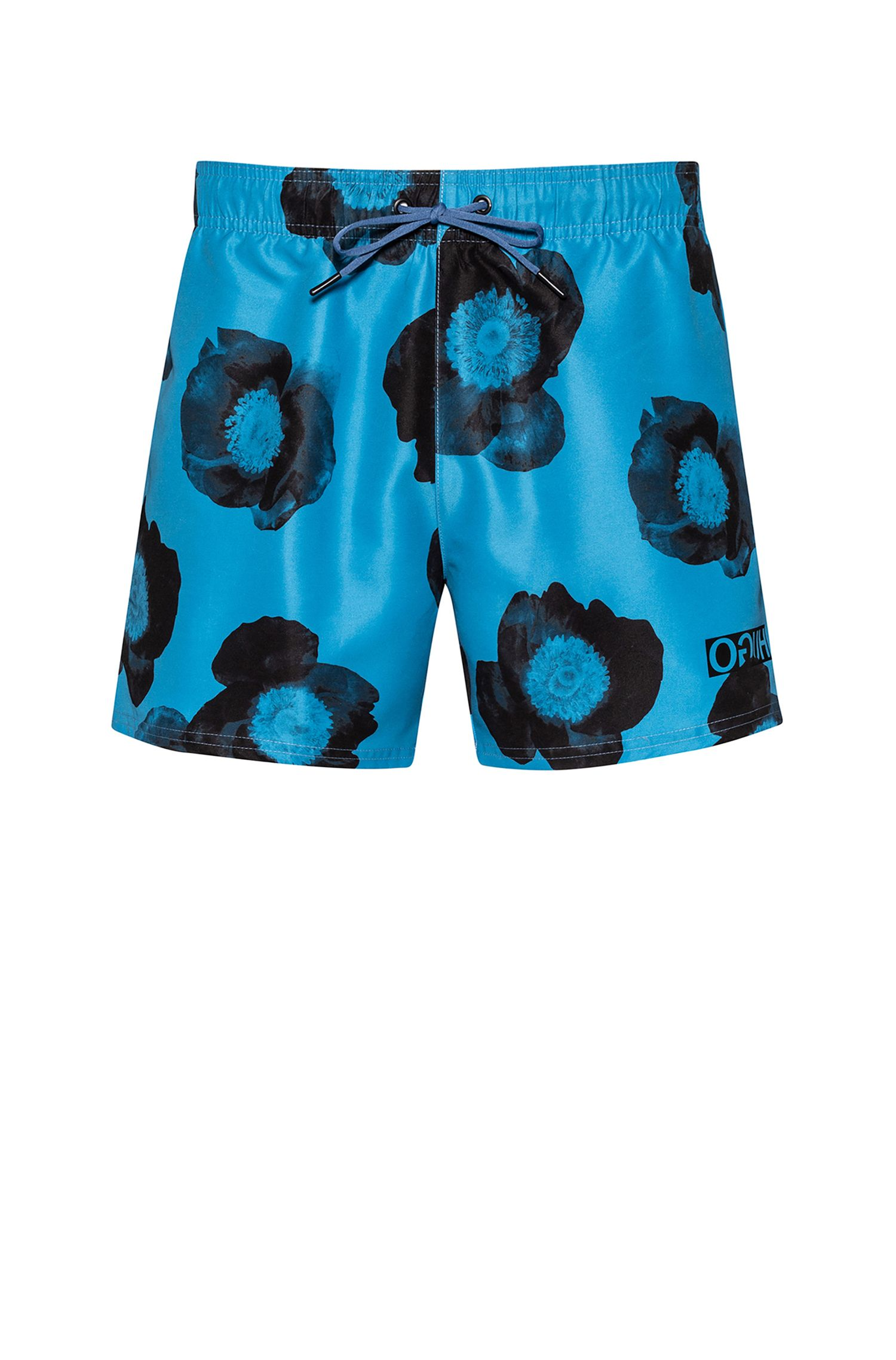 Floral-print swim shorts in quick-dry fabric, Dark Blue