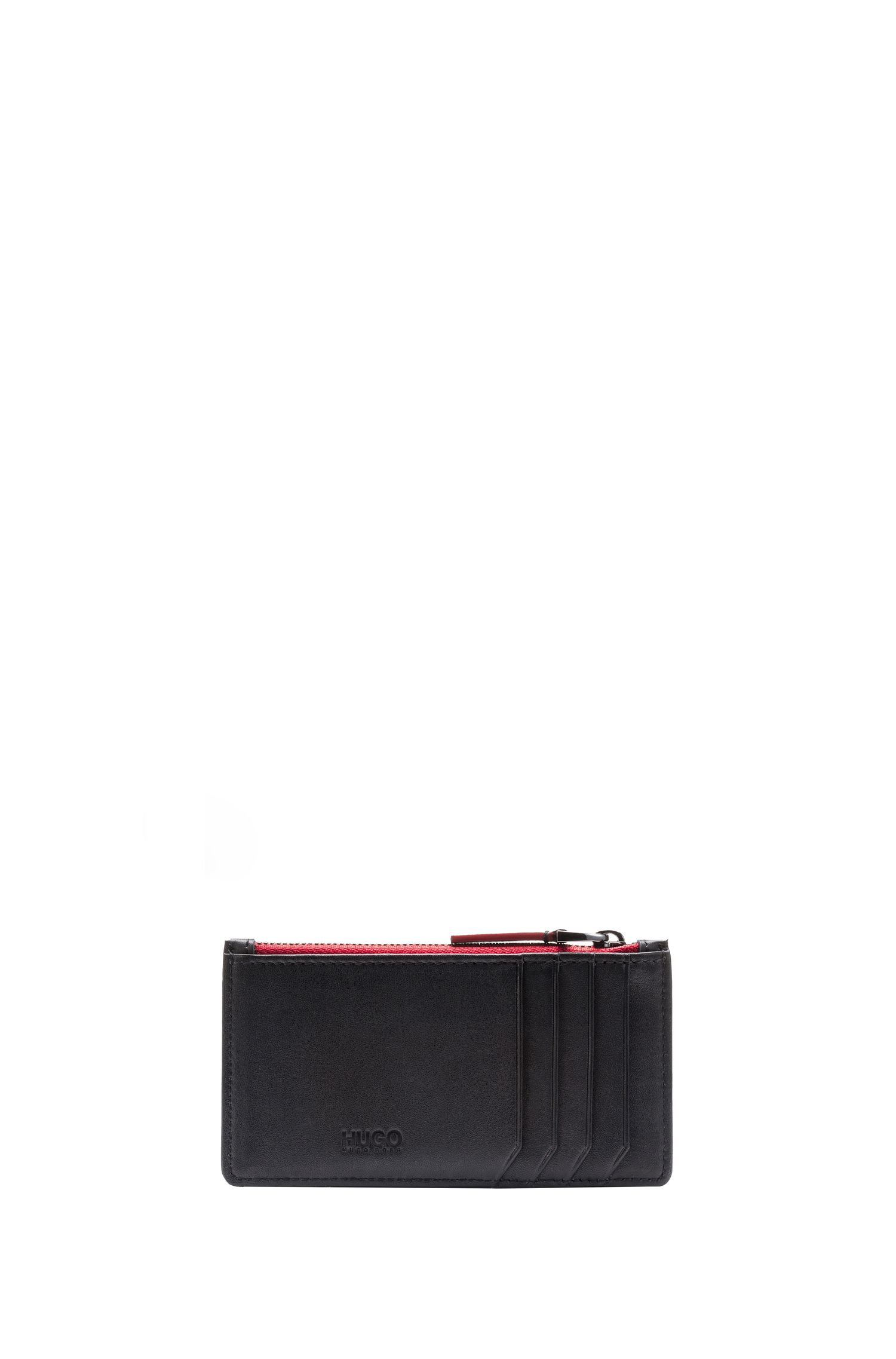 Nappa leather card holder with coin pocket, Black