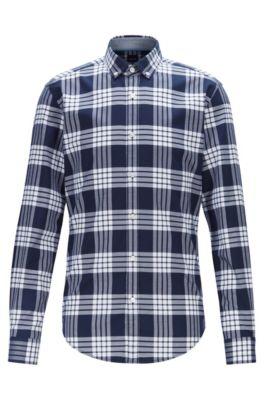 Kariertes Slim-Fit Hemd aus elastischer Baumwolle, Dunkelblau