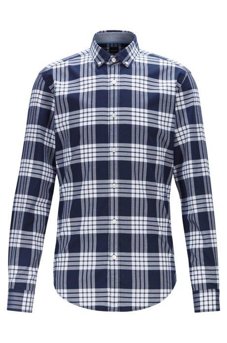 Chemise Slim Fit en coton stretch à carreaux, Bleu foncé