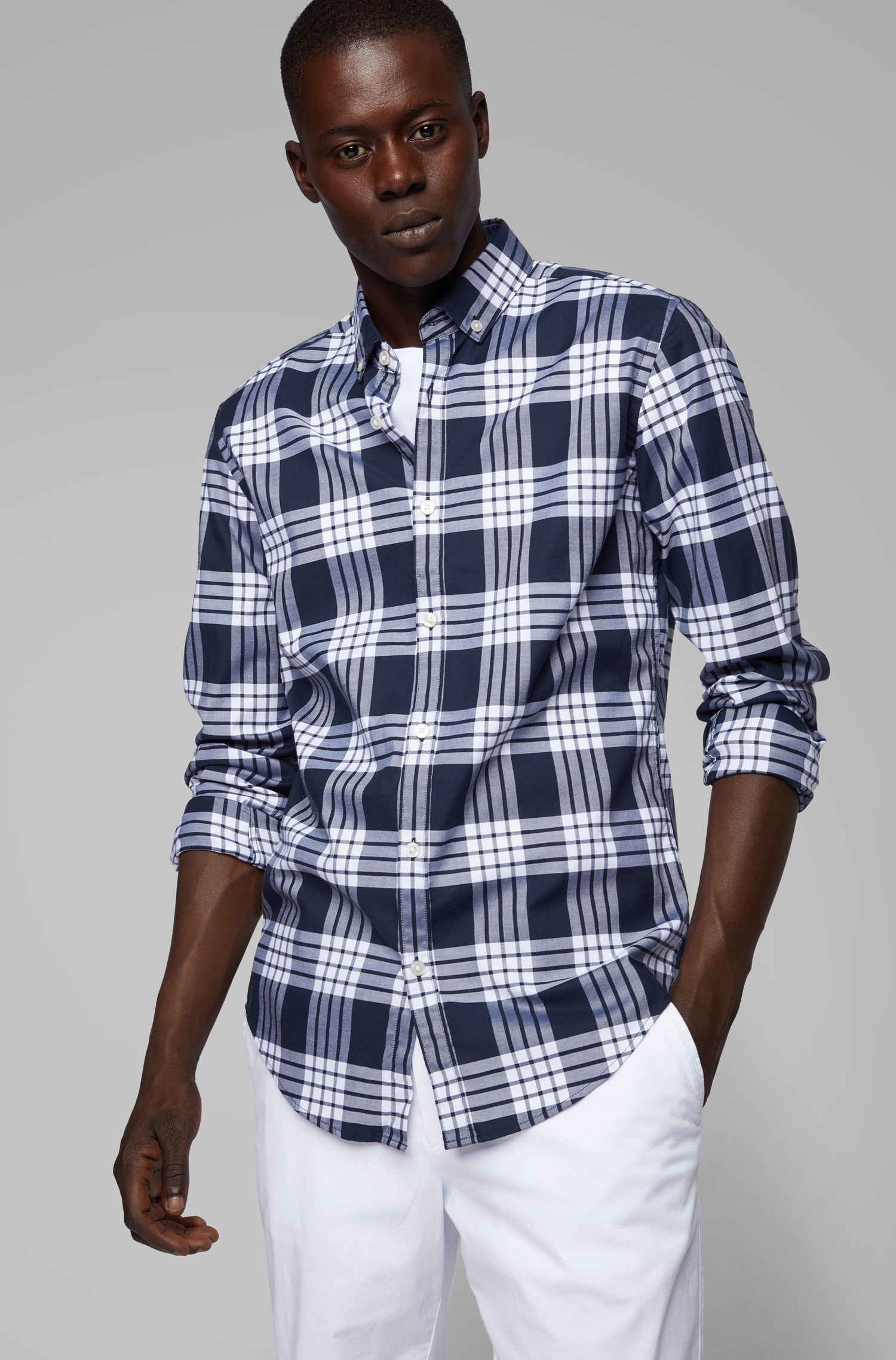 Slim-fit shirt in checked stretch cotton, Dark Blue
