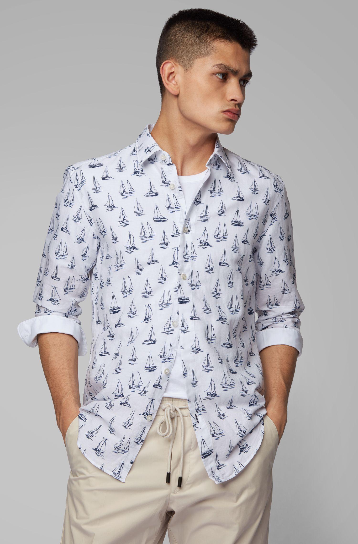 Slim-Fit Hemd aus Leinen mit Baumwolle und Boot-Motiv, Dunkelblau
