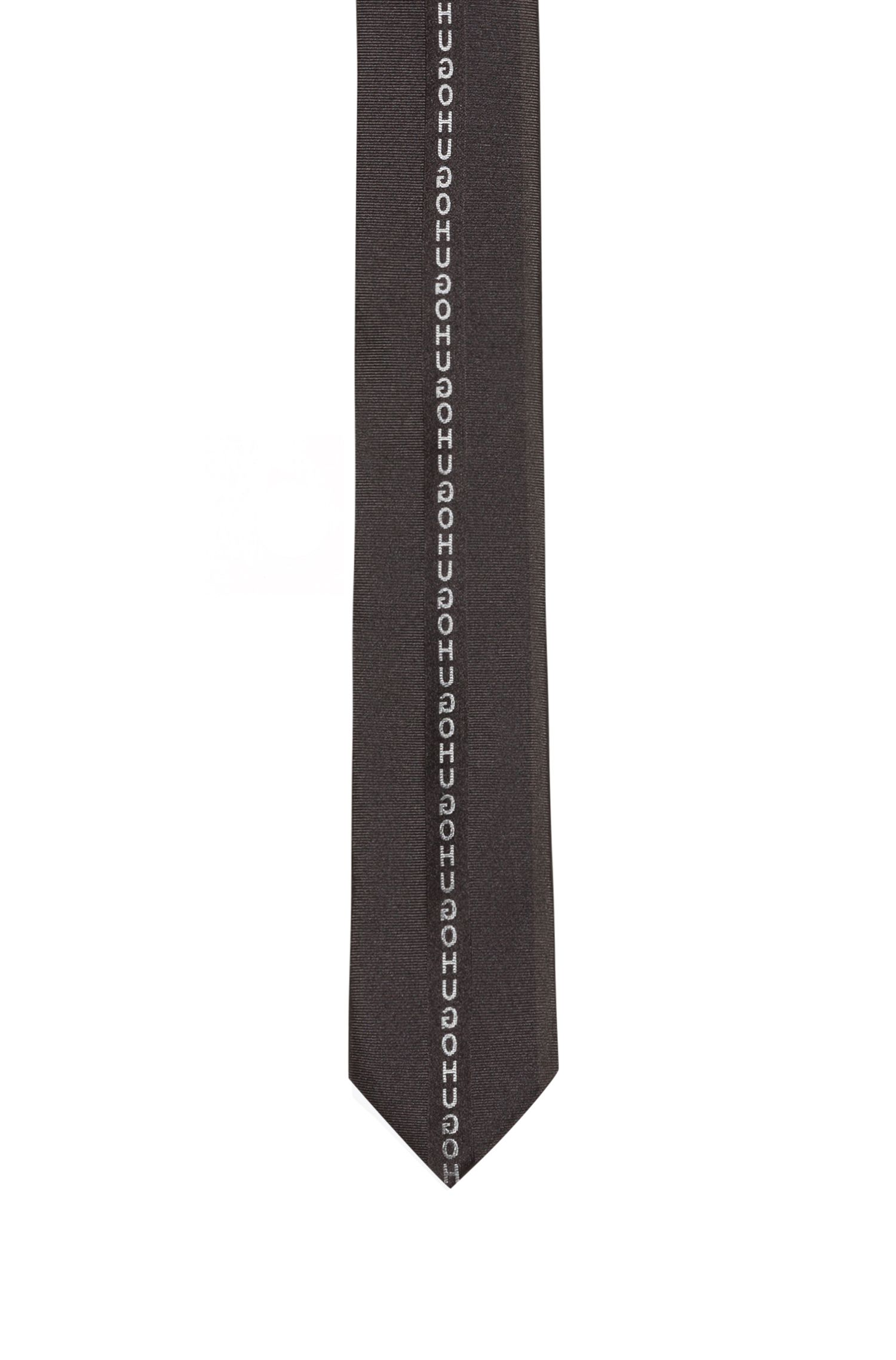 Pure-silk tie with reversed logo tape, Black