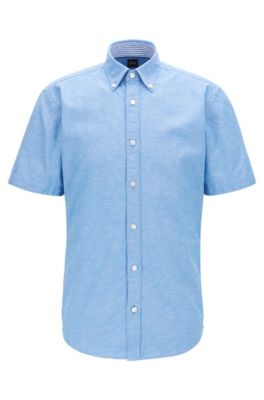 Slim-Fit Kurzarm-Hemd aus Baumwolle mit Leinen, Blau