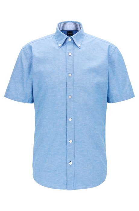 Slim-fit overhemd van katoen en linnen met korte mouwen, Blauw