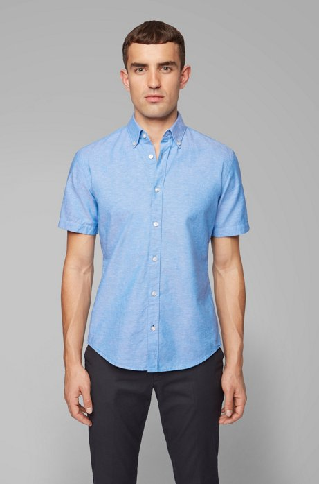 Short-sleeved slim-fit shirt in cotton and linen, Blue