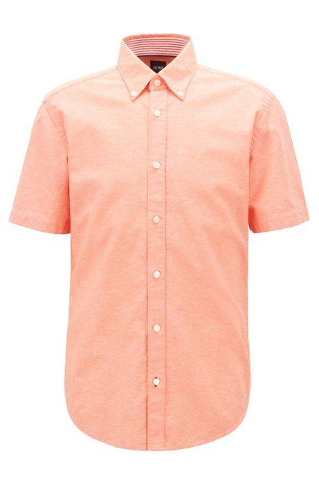 Slim-Fit Kurzarm-Hemd aus Baumwolle mit Leinen, Orange