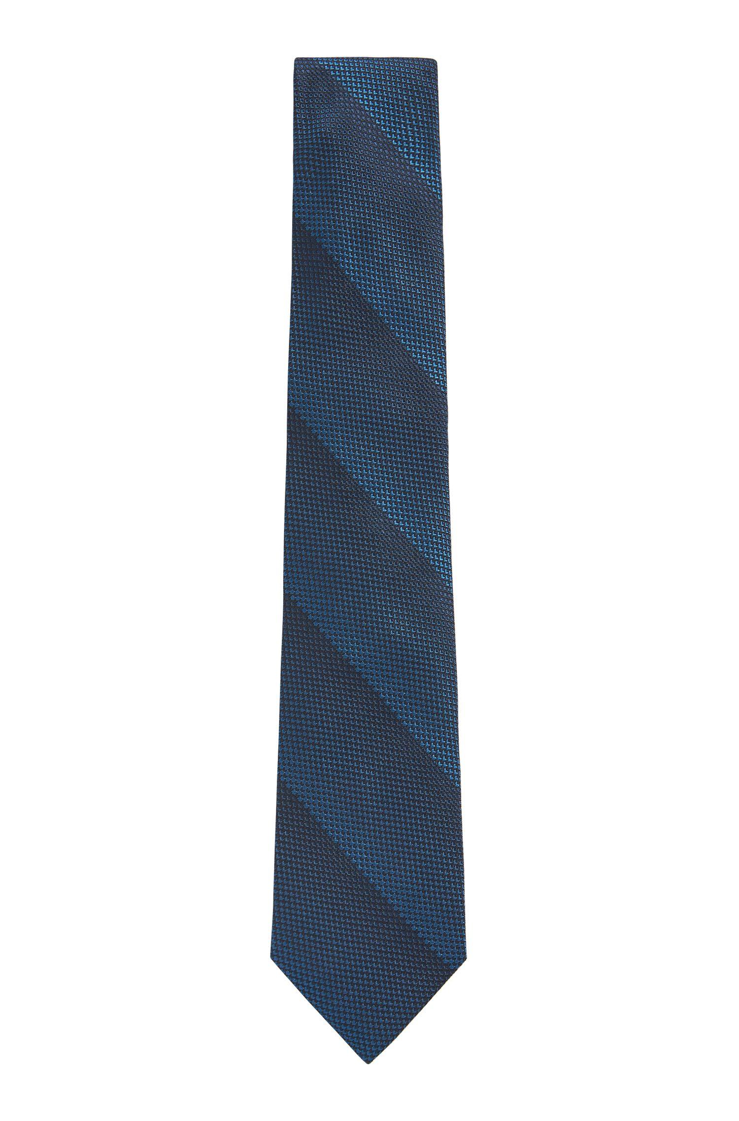 Handgefertigte Krawatte aus reiner Seide mit Jacquard-Streifen, Blau