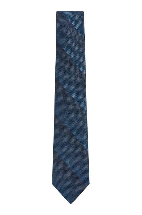 Cravatta fatta a mano in pura seta con righe a trama jacquard, Blu