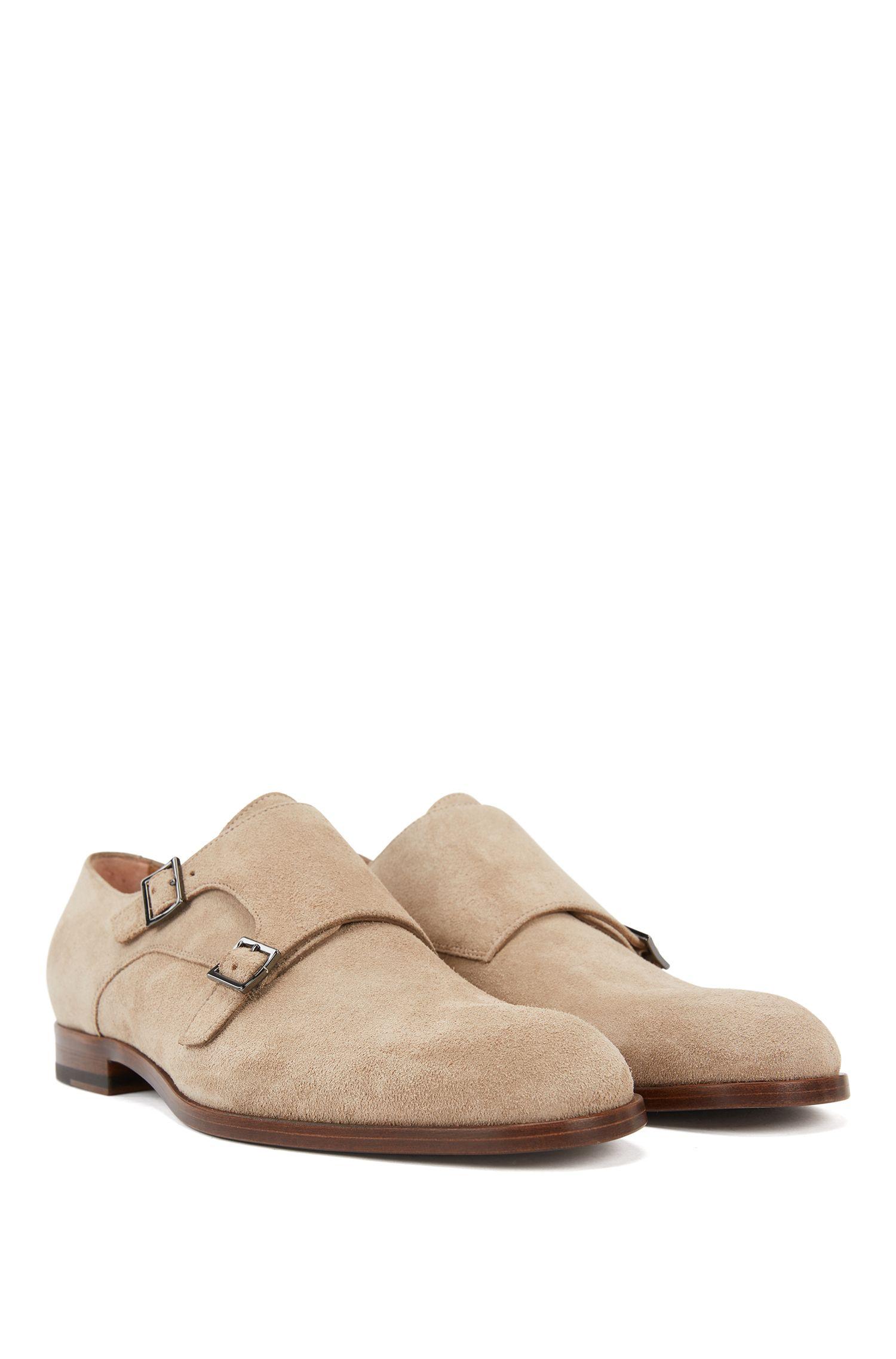 Chaussures en cuir suédé double boucle à semelle extérieure beige, Beige