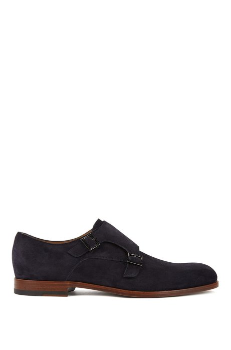 Double-monk suede shoes with blonde outsole, Dark Blue