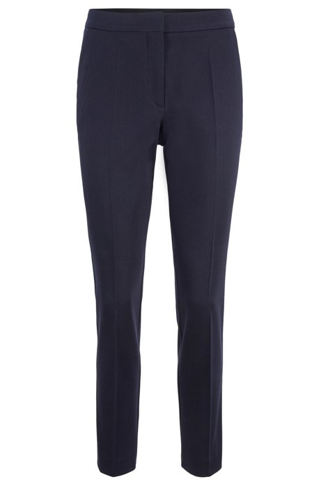 Regular-Fit Hose aus Stretch-Baumwolle in Cropped-Länge, Dunkelblau