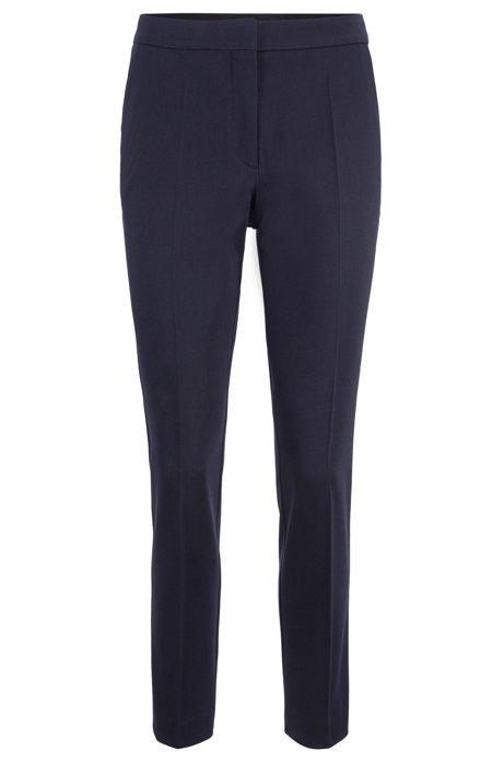Pantalon Regular Fit court en coton stretch, Bleu foncé
