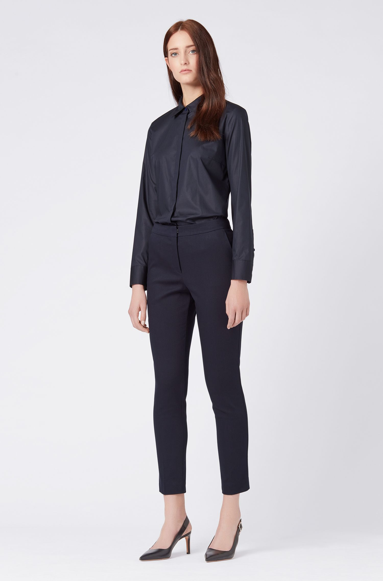 Cropped regular-fit trousers in stretch cotton, Dark Blue