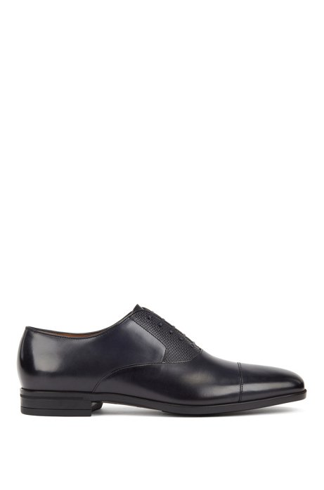 Burnished leather Oxford shoes with monogram embossing, Dark Blue