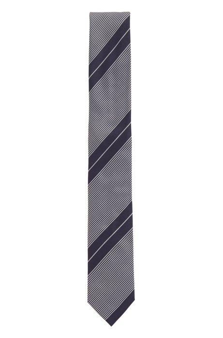 Hand-made tie in pure silk with diagonal stripes, Dark Blue