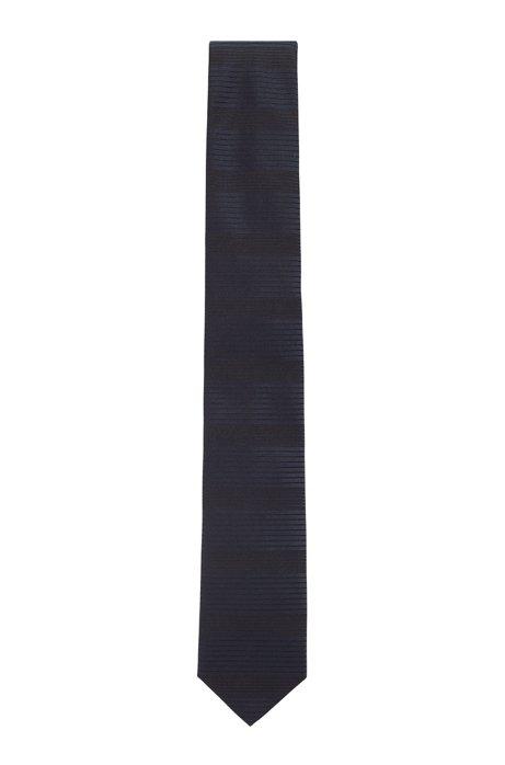 Handgemaakte stropdas van zijde met gemengde dwarsstrepen, Donkerblauw